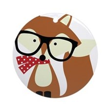 Holiday Hipster Brown Fox Ornament (Round)