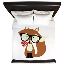 Holiday Hipster Brown Fox King Duvet