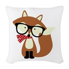 Holiday Hipster Brown Fox Woven Throw Pillow