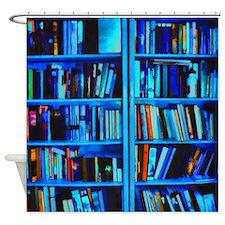 Blue book Shelves Shower Curtain