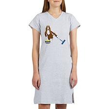 Basset Hound Curling Women's Nightshirt