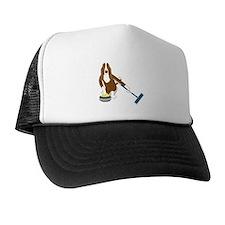 Basset Hound Curling Trucker Hat