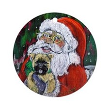 Santa and Me Cairn Round Ornament