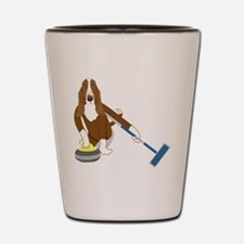 Basset Hound Curling Shot Glass