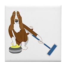 Basset Hound Curling Tile Coaster