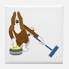 Basset Hound Curling Tile Coaster