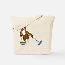 Basset Hound Curling Tote Bag