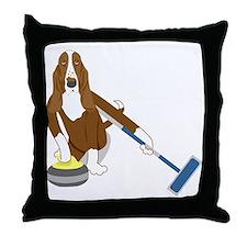 Basset Hound Curling Throw Pillow