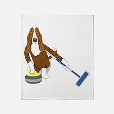 Basset Hound Curling Throw Blanket