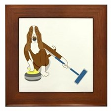 Basset Hound Curling Framed Tile