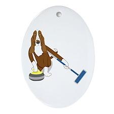 Basset Hound Curling Ornament (Oval)