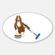 Basset Hound Curling Sticker (Oval)