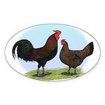 Redcap Fowl Oval Sticker