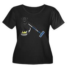 Black Lab Curling Women's Scoop Plus Size T-Shirt