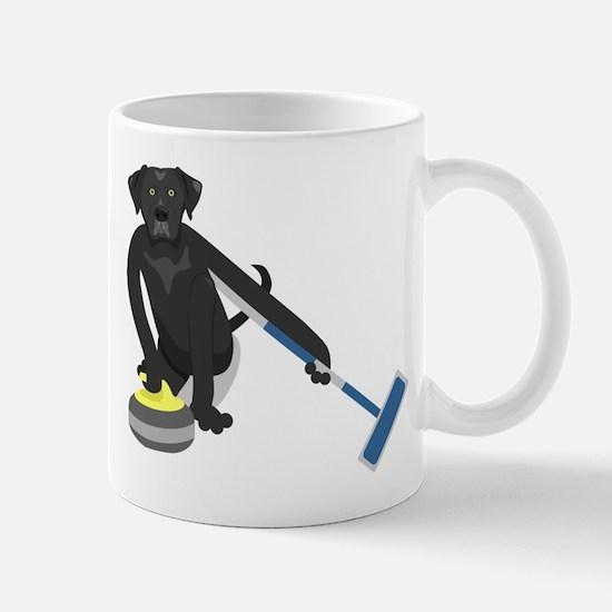 Black Lab Curling Mug