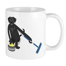 Black Lab Curling Small Mug
