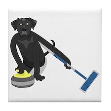 Black Lab Curling Tile Coaster