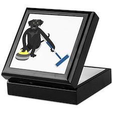 Black Lab Curling Keepsake Box
