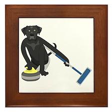 Black Lab Curling Framed Tile