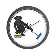 Black Lab Curling Wall Clock