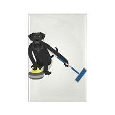 Black Lab Curling Rectangle Magnet