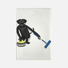 Black Lab Curling Rectangle Magnet