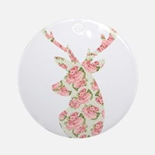 Vintage Roses Pattern Deer Head S Ornament (Round)