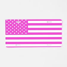 U.S. Flag: Pink Aluminum License Plate
