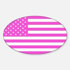 U.S. Flag: Pink Sticker (Oval)