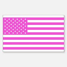 U.S. Flag: Pink Sticker (Rectangle)