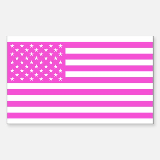 U.S. Flag: Pink Sticker (Rectangle)