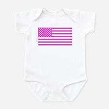 U.S. Flag: Pink Infant Bodysuit