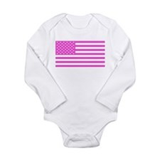 U.S. Flag: Pink Long Sleeve Infant Bodysuit