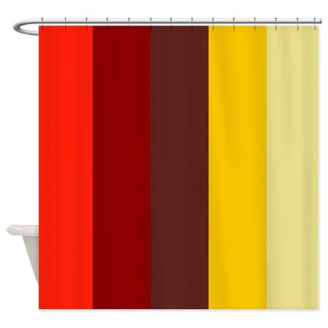 Red Maroon Gold Striped Shower Curtain By Admin CP119075029