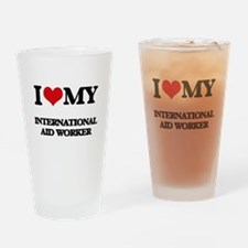 I love my International Aid Worker Drinking Glass