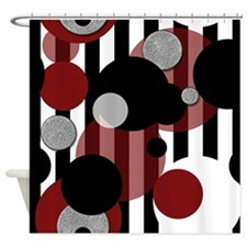 Black White Stripes Red Dots Shower Curtain