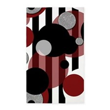 Black White Stripes Red Dots 3'x5' Area Rug