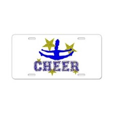 Gold and Blue Cheerleader Aluminum License Plate