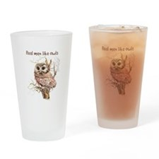 Real men like Owls Humor Bird Quote Drinking Glass