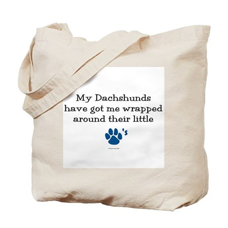 Wrapped Around Their Paws (Dachshund) Tote Bag