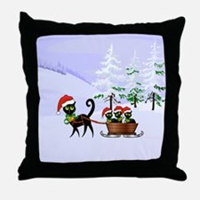 Cute Xmas kittens on a sleigh Throw Pillow