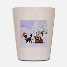 Cute Xmas kittens on a sleigh Shot Glass