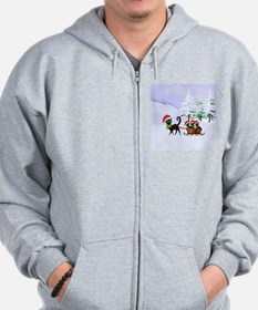 Cute Xmas kittens on a sleigh Zip Hoodie