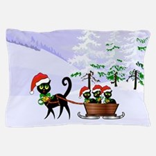 Cute Xmas kittens on a sleigh Pillow Case