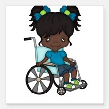 Girl in wheelchair - African American Square Car M