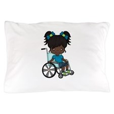 Girl in wheelchair - African American Pillow Case