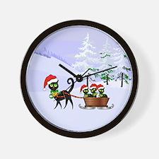 Cute Xmas kittens on a sleigh Wall Clock