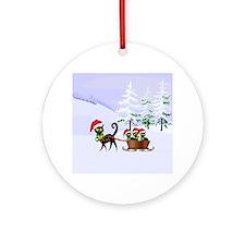Cute Xmas kittens on a sleigh Ornament (Round)
