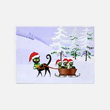 Cute Xmas kittens on a sleigh 5'x7'Area Rug