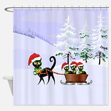 Cute Xmas kittens on a sleigh Shower Curtain